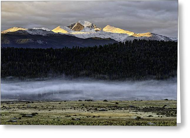 Clouds Over Longs Peak Greeting Card by Tom Wilbert