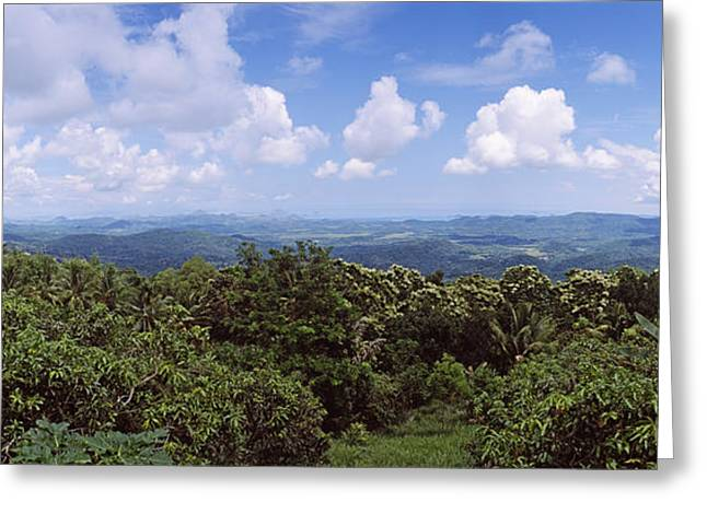 Clouds Over Mountains, Flores Island Greeting Card by Panoramic Images