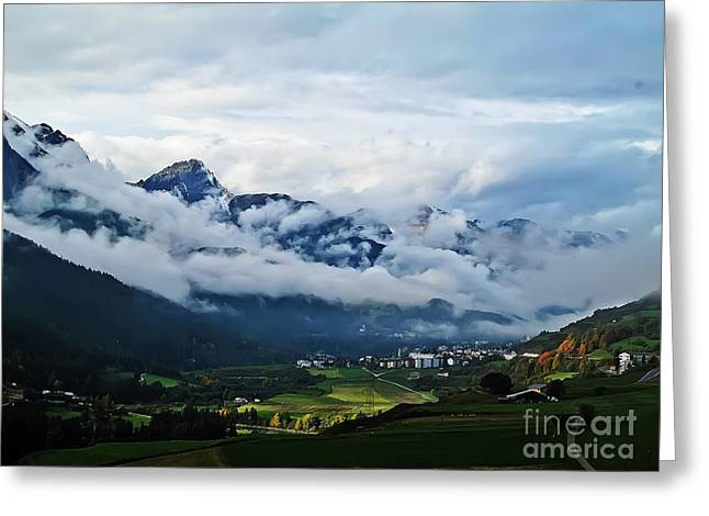 Clouds Over Pontresina Greeting Card by Elvis Vaughn