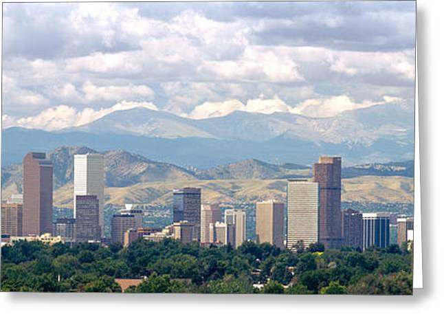 Clouds Over Skyline And Mountains Greeting Card by Panoramic Images