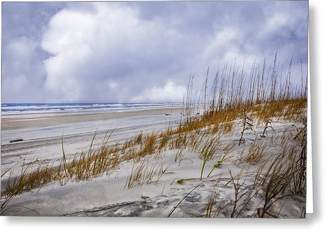 Clouds Over The Dunes Greeting Card by Debra and Dave Vanderlaan
