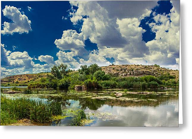 Greeting Card featuring the photograph Clouds Over The River by Dmytro Korol