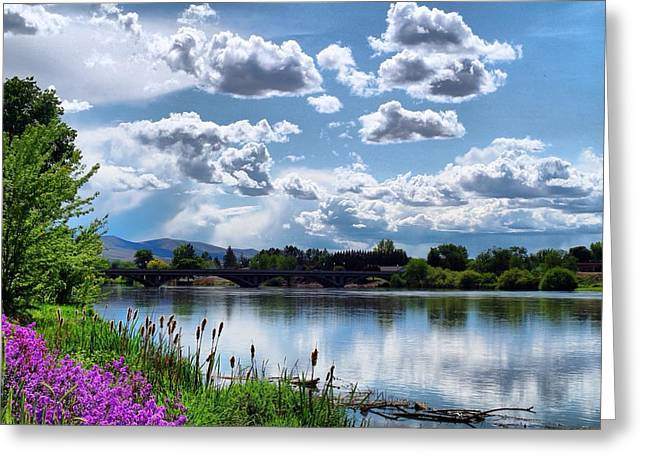 Clouds Over The River Greeting Card