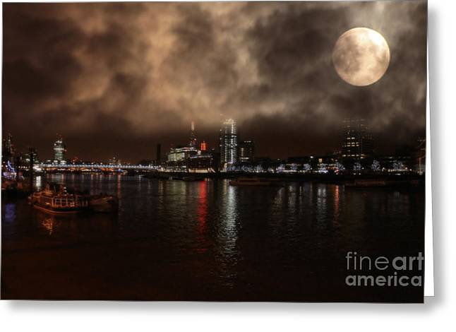 Clouds Over The River Thames Greeting Card by Doc Braham