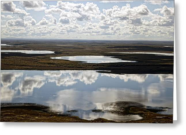 Clouds Reflected In Aleutian Lakes Greeting Card by Michael Riley