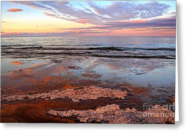 Clouds Reflections On Rock Beach Greeting Card
