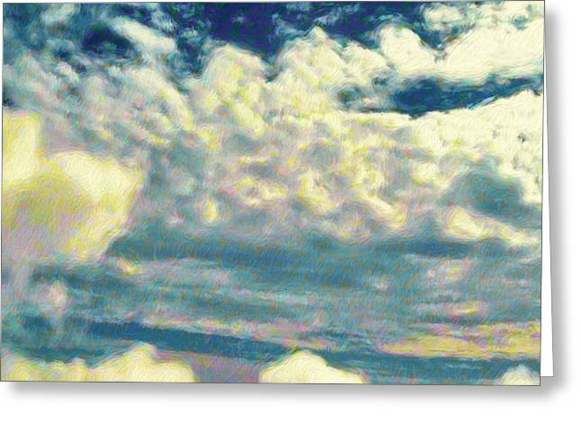 Clouds With Yellow Flecks - Square Greeting Card