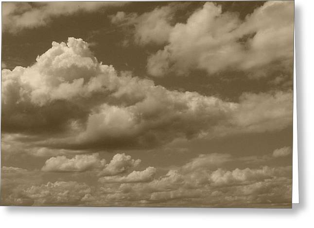 Cloudscape In Sepia Greeting Card by Suzanne Gaff