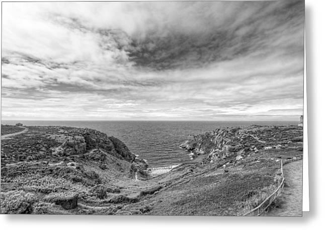 Cloudscape Over Corbiere Coastline Bw Greeting Card