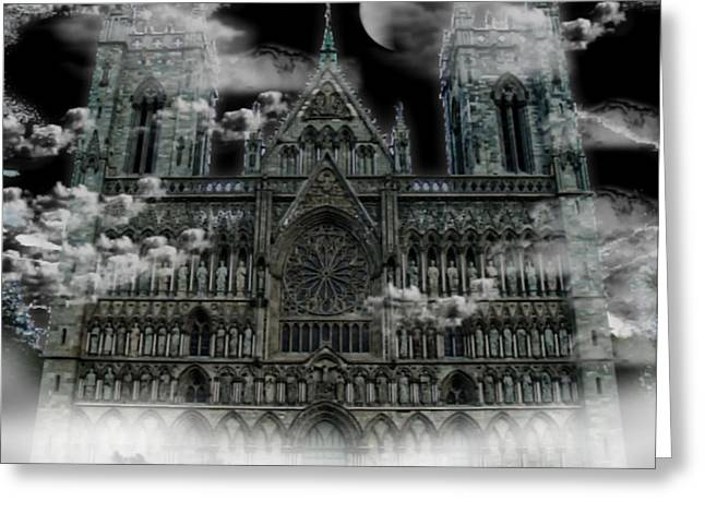 Greeting Card featuring the photograph Cloudy Cathedral by Digital Art Cafe