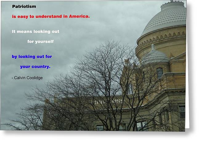 Cloudy Courthouse Greeting Card by Christina Verdgeline