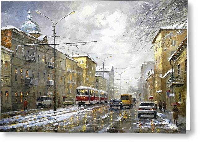 Greeting Card featuring the painting Cloudy Day by Dmitry Spiros