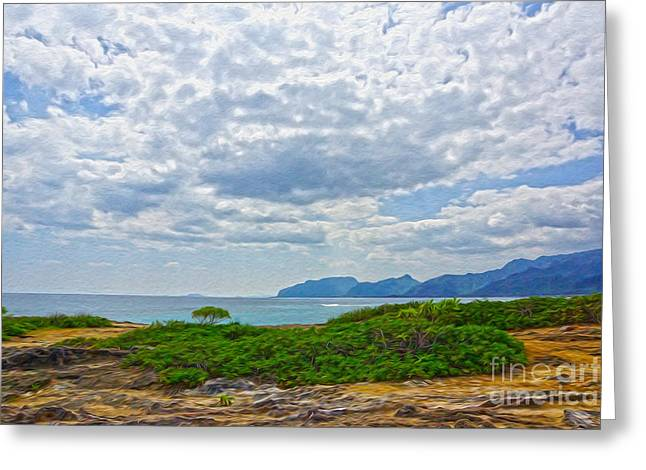 Cloudy Day In Oahu Greeting Card by Nur Roy