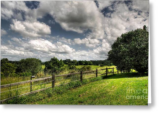 Cloudy Day In The Country Greeting Card by Kaye Menner