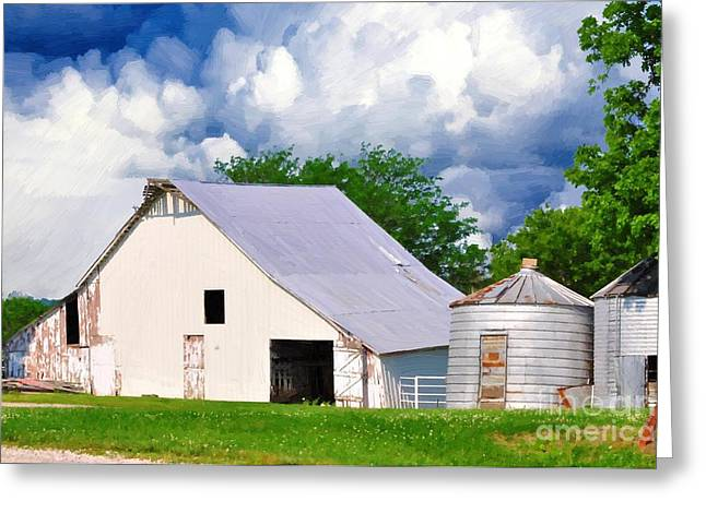Cloudy Day In The Country Greeting Card by Liane Wright