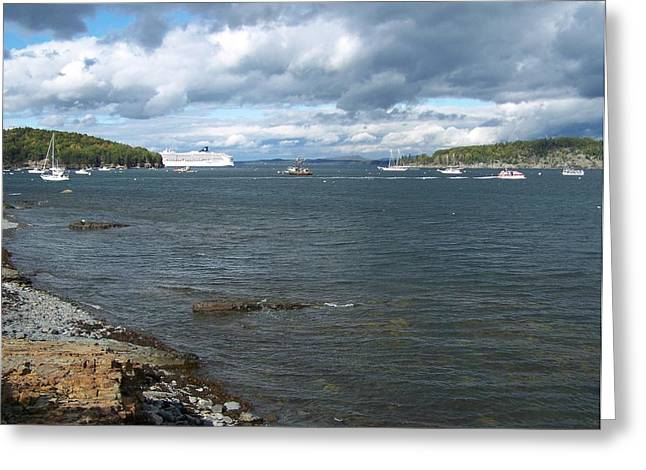 Greeting Card featuring the photograph Cloudy Harbor by Gene Cyr