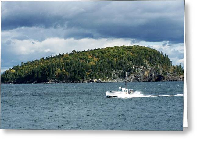 Greeting Card featuring the photograph Cloudy Island by Gene Cyr