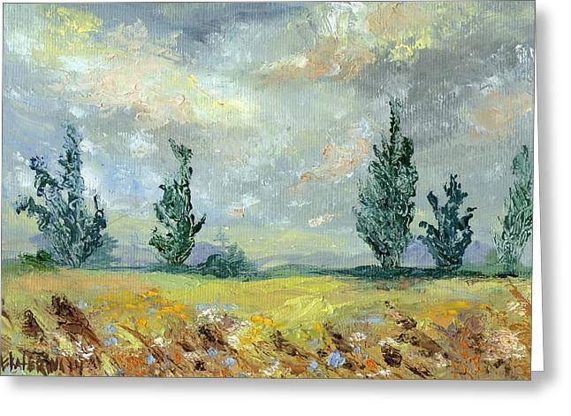Cloudy Landscape Before The Rain Greeting Card
