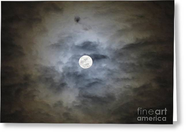 Cloudy Moon 2 Greeting Card