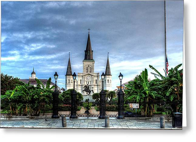 Cloudy Morning At  St. Louis Cathedral Greeting Card