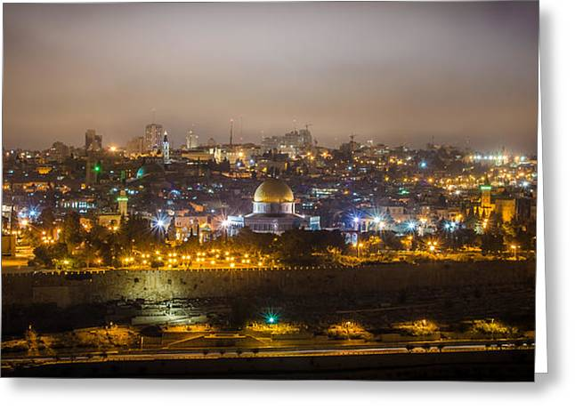 Cloudy Night In Jerusalem Greeting Card by David Morefield