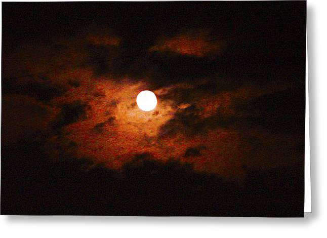Cloudy Night Sky Greeting Card by Robert J Andler
