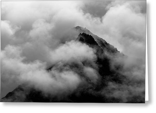 Cloudy Peak Greeting Card by Yuri Fineart