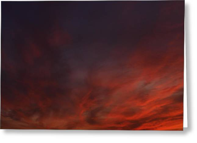 Cloudy Red Sunset Greeting Card
