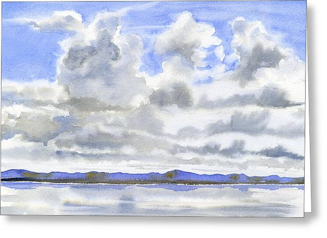 Cloudy Sky With Reflections Greeting Card by Sharon Freeman