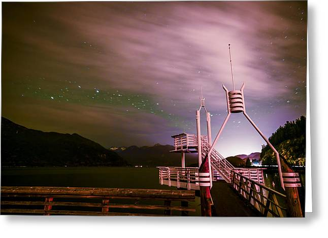 Cloudy Stars At Porteau Cove Provincial Park Greeting Card by Winson Tang