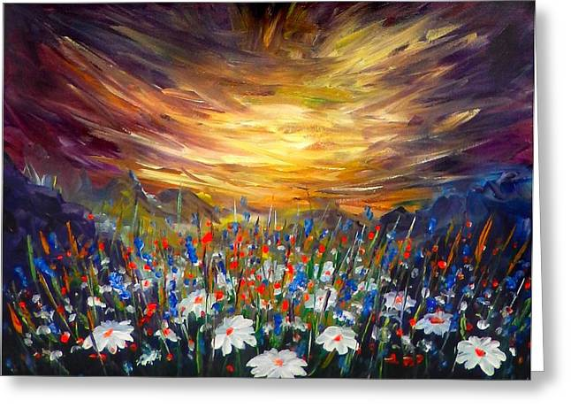 Greeting Card featuring the painting Cloudy Sunset In Valley by Lilia D