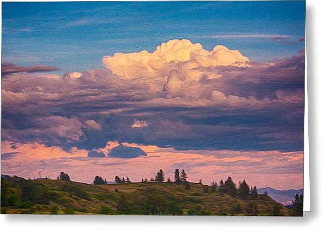 Cloudy Sunset Greeting Card by Omaste Witkowski