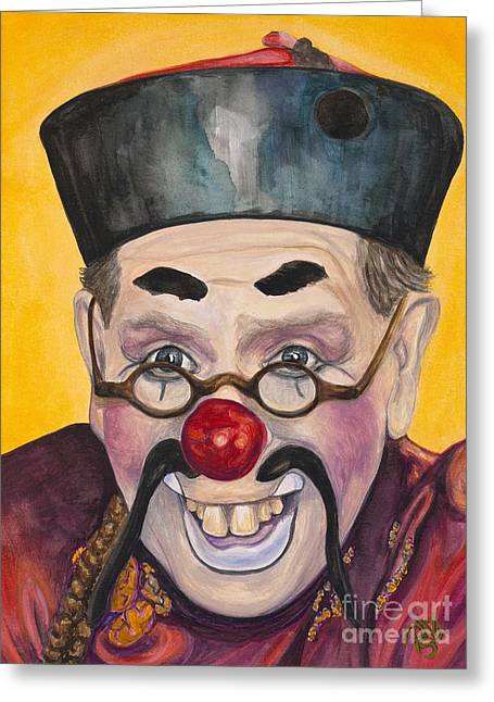 Watercolor Clown #15  Bill Gillespie Greeting Card by Patty Vicknair