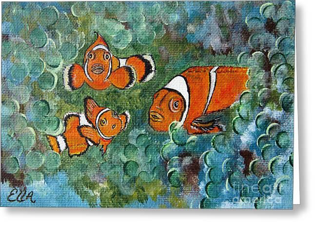 Clown Fish Art Original Tropical Painting Greeting Card