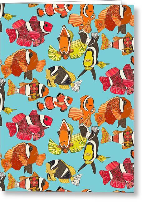 Clown Fish Blue Greeting Card