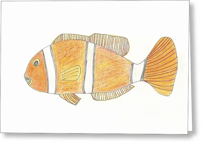 Clown Fish Greeting Card by Helen Holden-Gladsky
