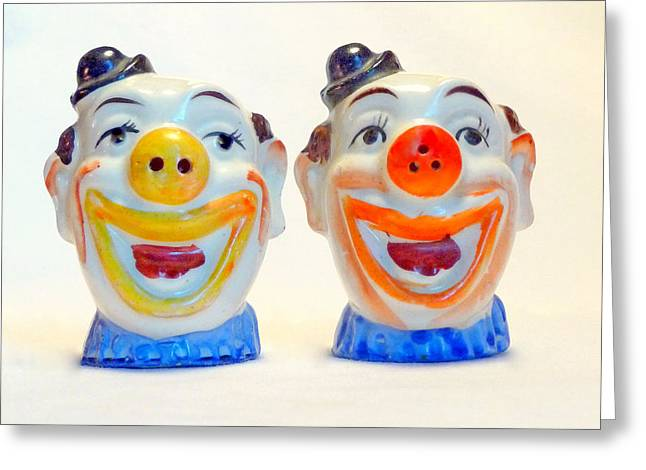 Vintage Clown Salt And Pepper Shakers Greeting Card
