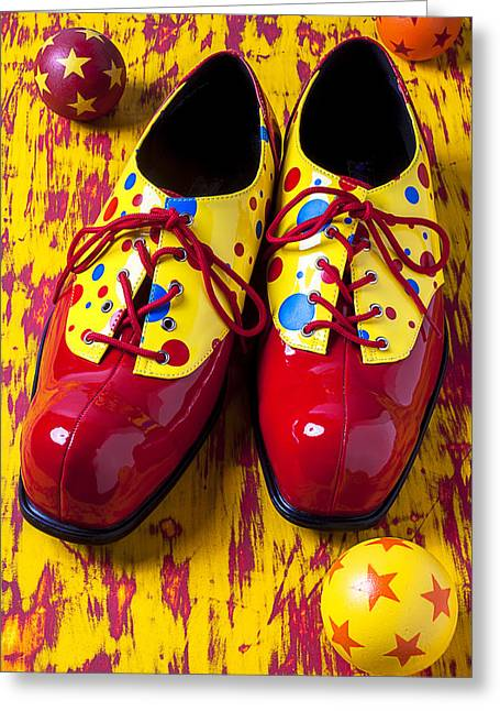 Clown Shoes And Balls Greeting Card
