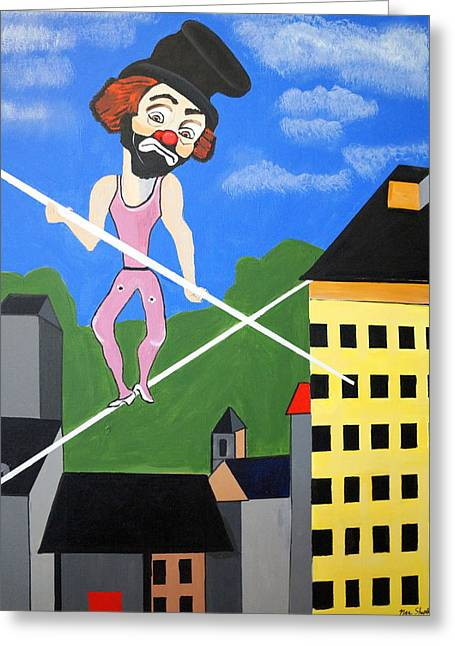 Greeting Card featuring the painting Clown Tight Roping by Nora Shepley