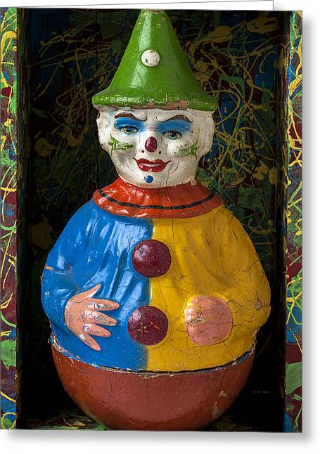 Clown Toy In Box Greeting Card by Garry Gay