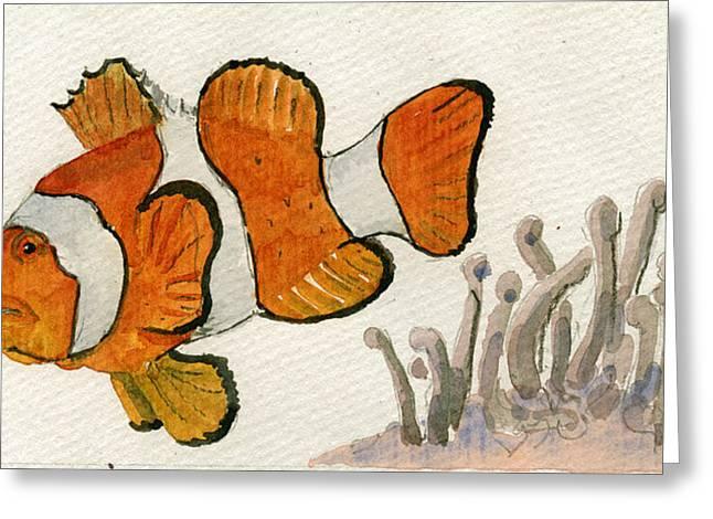 Clownfish  Greeting Card by Juan  Bosco