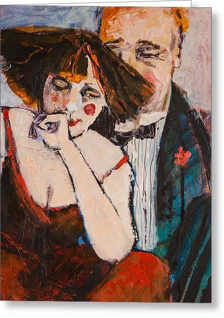 Clowning Around Greeting Card by Jennifer Croom