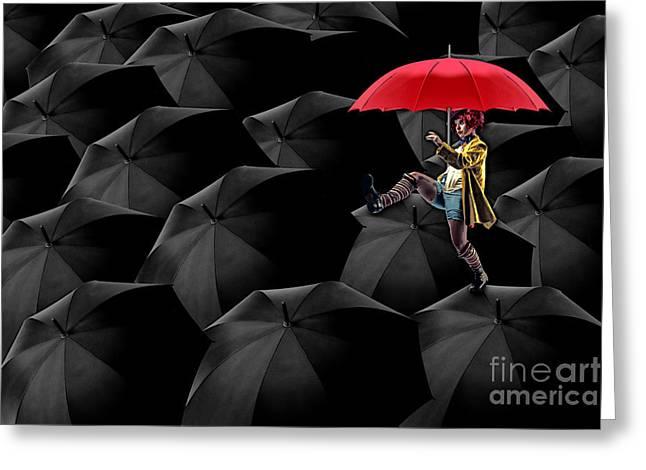 Clowning On Umbrellas 02 -a13 Greeting Card