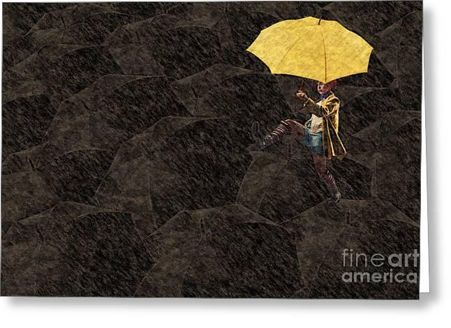 Clowning On Umbrellas 03 - A12 Greeting Card
