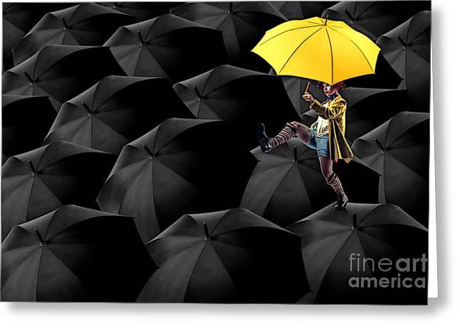 Clowning On Umbrellas 03-a13-1 Greeting Card