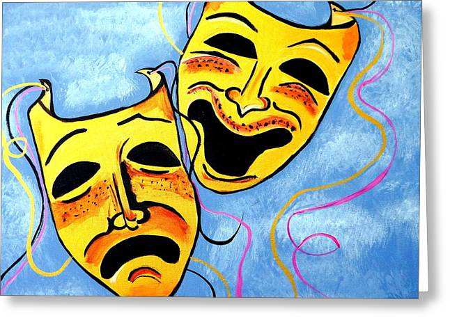 Comedy And Tragedy Greeting Card