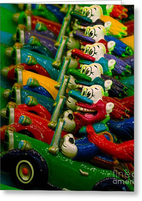 Clowns In Cars Amusement Park Game Greeting Card by Amy Cicconi