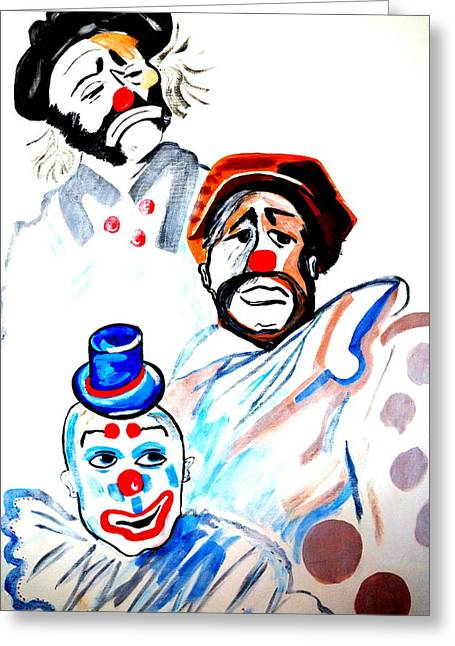 Greeting Card featuring the painting Clowns In Heaven by Nora Shepley