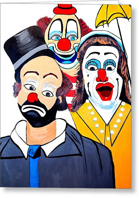 Greeting Card featuring the painting Clowns In Shock by Nora Shepley