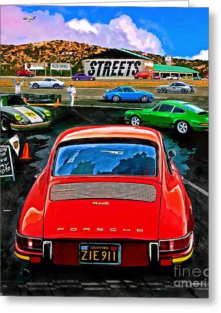 Club Racing Greeting Card by Alan Greene